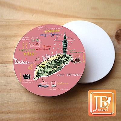 JB Design_就是愛台灣杯墊圓磁鐵-544_哇!台灣-粉