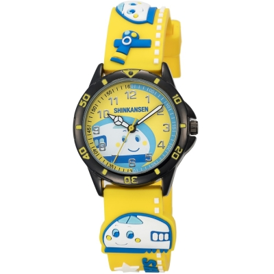 HELLO KITTY 新幹線百變英雄手錶-黃/34mm
