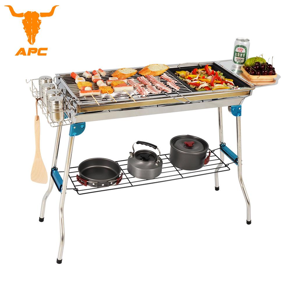 APC精裝版不鏽鋼烤肉架(含烤盤+調料盤+置物架+置物籃)-高70cm