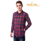 【hilltop山頂鳥】男款吸濕科技保暖棉長襯衫C05M19暗紅/藍格子