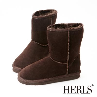 HERLS-全真皮 中筒雪靴-棕色