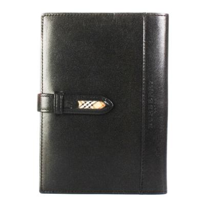 BURBERRY經典飾邊格紋中型穿扣皮革手帳冊-黑色