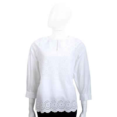 PHILOSOPHY 白色菱格縷空織花七分袖上衣