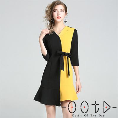 撞色V領不對稱洋裝 (黃+黑色)-OOTD