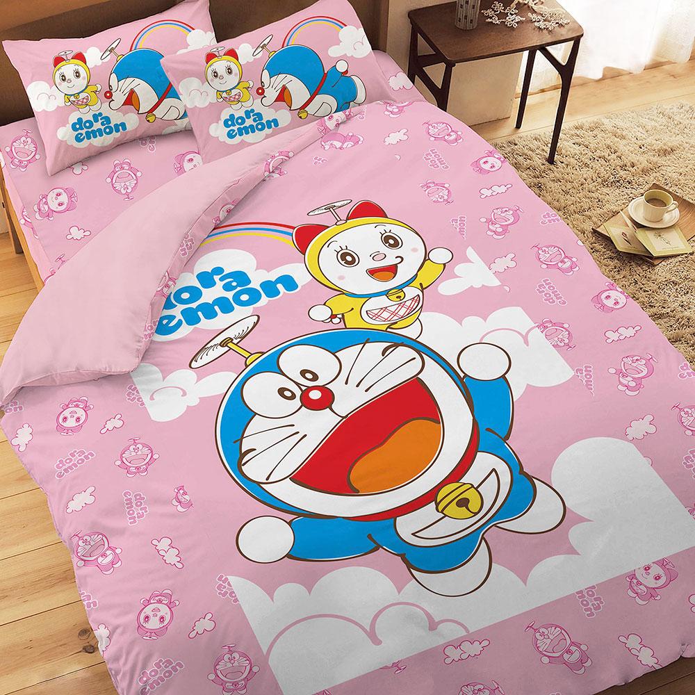 享夢城堡 精梳棉雙人床包涼被四件組-哆啦A夢DORAEMON 天空漫遊-藍.粉