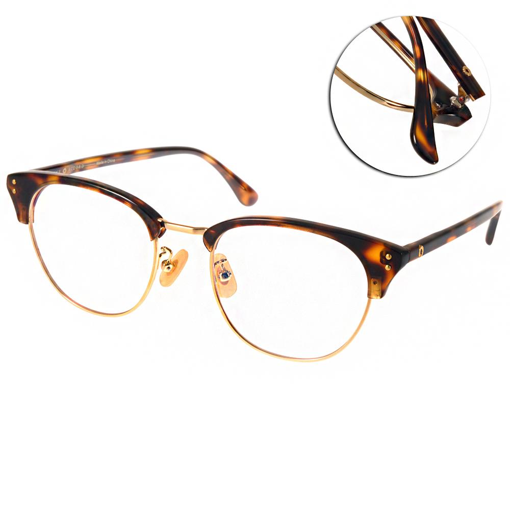 NINE ACCORD眼鏡 貓眼大圓框/琥珀棕-金#LENTOP AKI C02