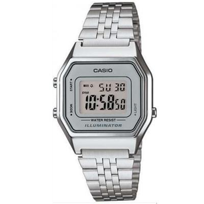 CASIO 經典復古數字型電子錶(LA680WA-7)-銀色x銀框/28.6mm