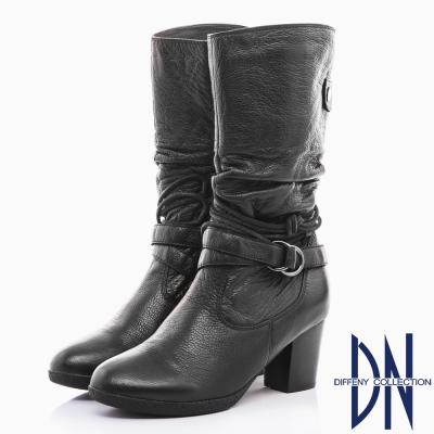 DN 都會魅力 舒適牛皮抓皺綁繩皮帶中筒靴-黑