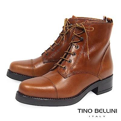 Tino Bellini義大利進口溫潤牛皮綁帶軍靴_ 棕