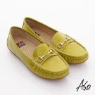 A.S.O 頂級氣墊 全真皮鏡面莫卡辛平底鞋 綠