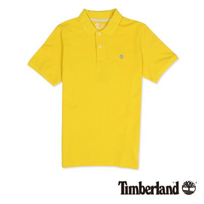 Timberland-男款黃色素面刺繡短袖Polo