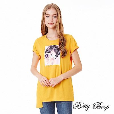 Betty Boop貝蒂 相機彩圖剪裁傘襬柔棉上衣(共兩色)