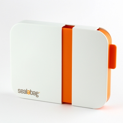 英國Sealabag 塑膠袋封口機-橘 + 膠帶補充包 x3