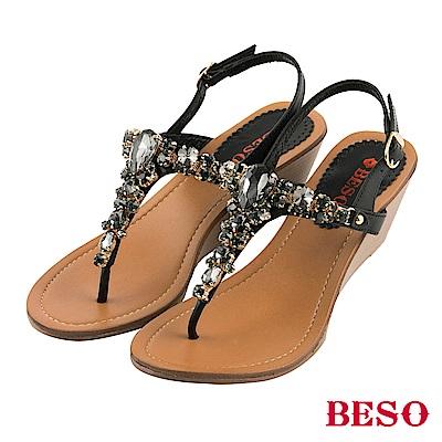 BESO 璀璨奢華 閃耀立體水鑽寶石T帶楔型涼鞋~黑