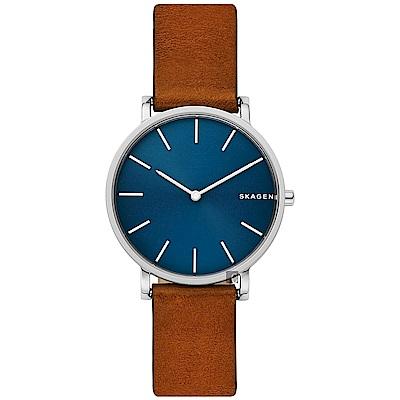 Skagen Signature 北歐簡約手錶-藍x咖啡/ 38 mm