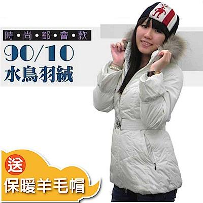 【荒野 wildland 】女款 中長版 貉子毛單件式保暖羽絨外套_米白