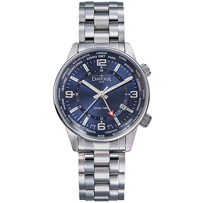 DAVOSA Vireo Dual Time–威利爾經典雙時區系列鋼帶腕錶-藍/42mm