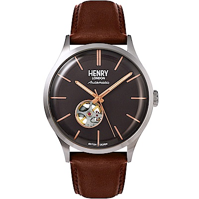 Henry London Automatic英倫真皮鏤空機械錶-灰X銀框/42mm