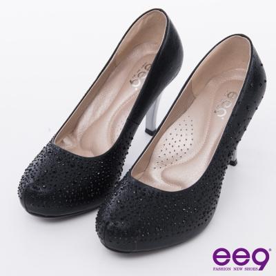 ee9 心滿益足~璀璨低調奢華進口閃亮布夢幻水鑽高跟鞋*黑色