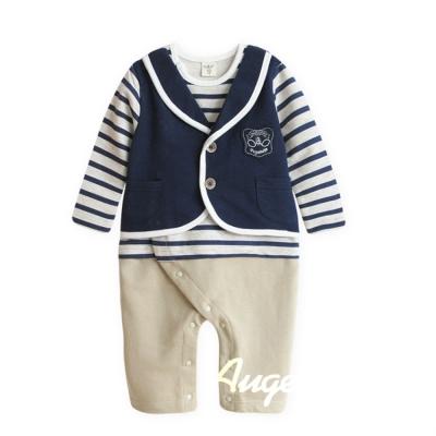 baby童衣 寶寶休閒連身衣 男童條文學院風套裝(假3件式)37024