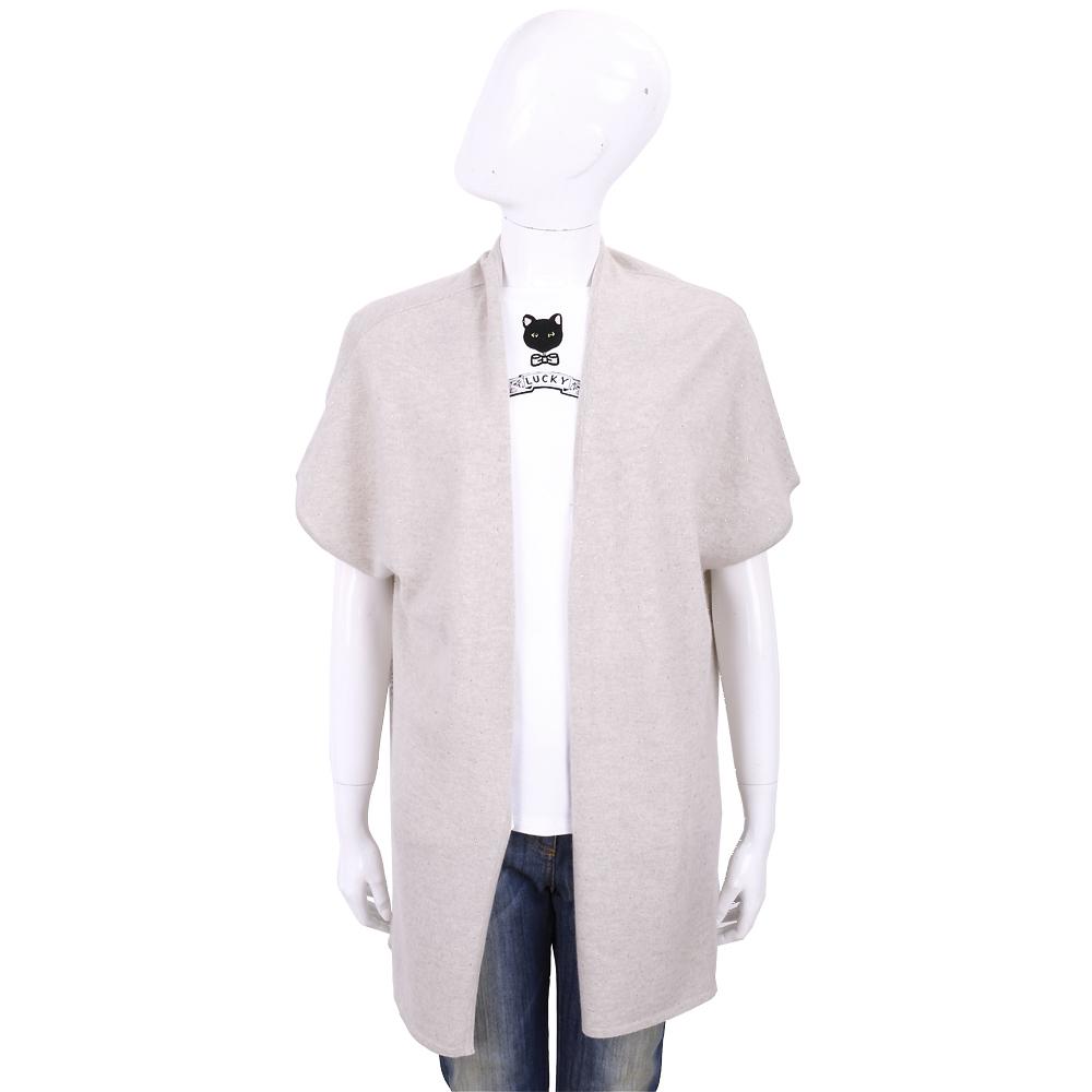 ALLUDE 喀什米爾卡其灰星空鑽飾長版針織羊毛罩衫