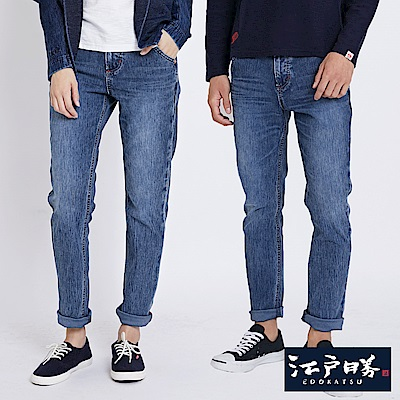 EDWIN 江戶勝彈性雪花窄直筒褲-中性-拔淺藍