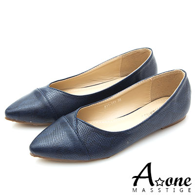 A one 蛇紋小尖頭平底鞋-藍色