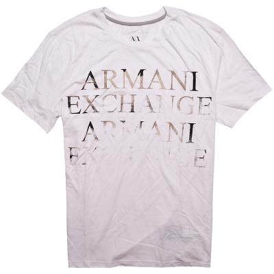 A|X Armani Exchange 仿舊LOGO圓領短袖T恤-白