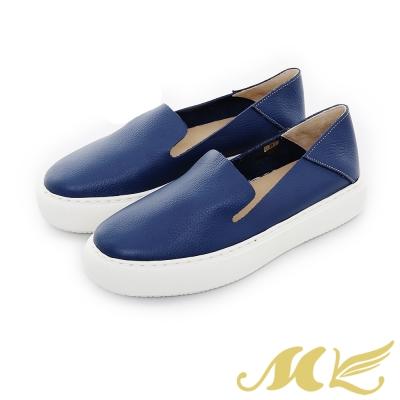 MK-網路限定-透氣真皮兩穿懶人厚底休閒鞋-深藍