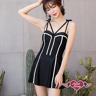 泳衣 簡約流線 鋼圈一件式連身泳裝(黑M~XL) AngelHoney天使霓裳