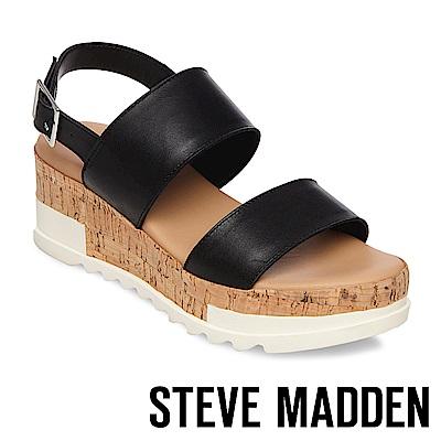 STEVE MADDEN-BRENDA 二字帶軟木雙色楔形涼鞋-黑色