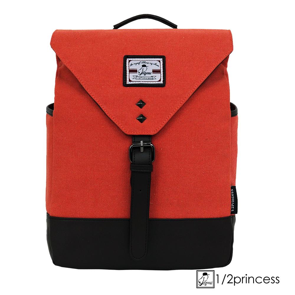 1/2princess水洗帆布中型鉚釘胸包後背包 斜背包 橘色 [A2683](快)