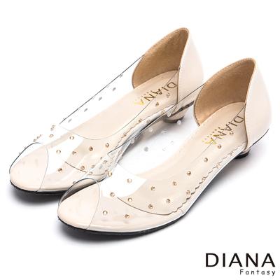 DIANA 耀眼迷人--閃耀亮鑽透視魅力魚口鞋-米