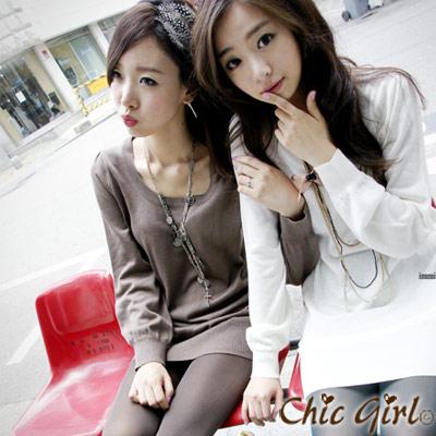 正韓 喇叭袖簡約針織連身裙 (白色)-Chic Girl