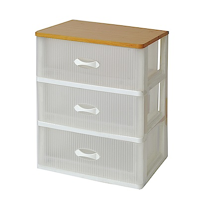 創意達人清雅木頂板加寬3抽收納櫃(附輪)