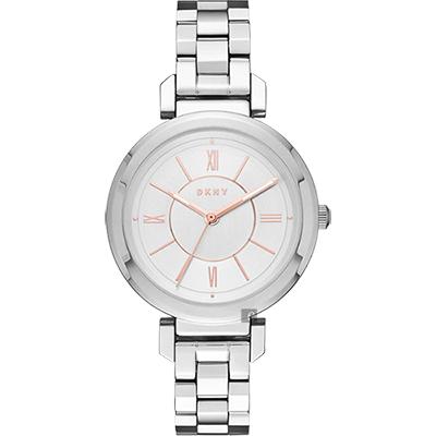 DKNY Ellington 質感女人時尚腕錶-銀/ 34 mm