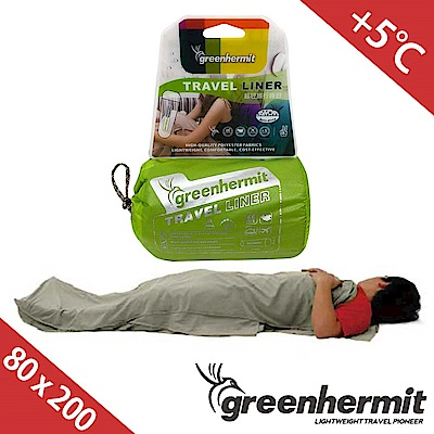 GREEN HERMIT蜂鳥旅行睡袋內套80x200cm鈦灰色OD8003