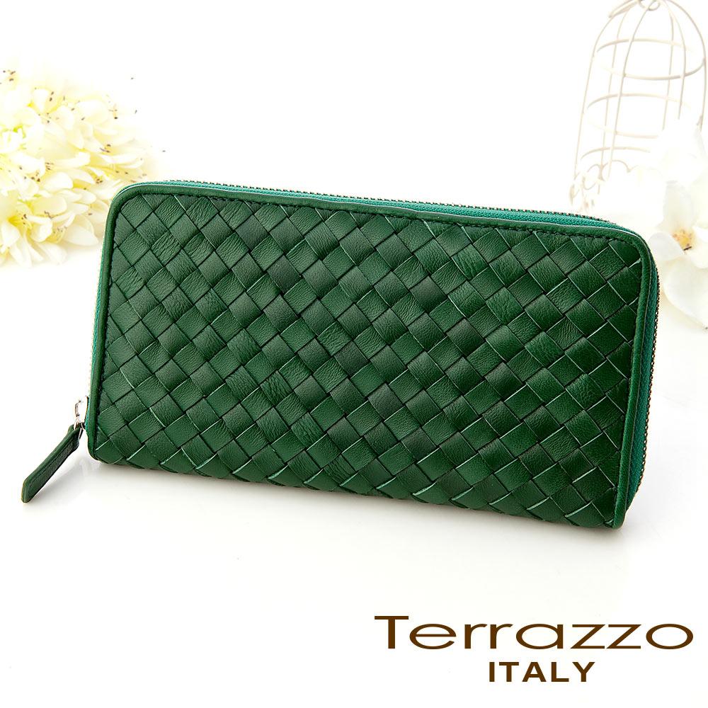 【義大利Terrazzo】經典小羊皮編織拉鍊長夾 - 綠色72G1573A