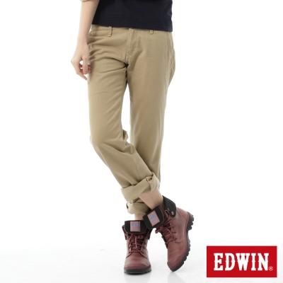 EDWIN-KHAKI中直筒休閒褲-女-淺卡其