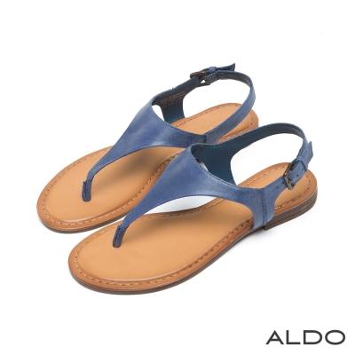 ALDO-原色真皮V字金屬繫帶夾腳涼鞋-海軍藍色