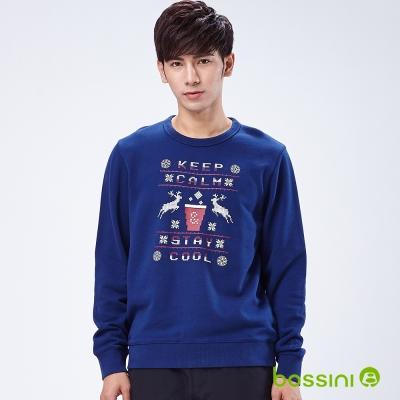 bossini男裝-印花運動衫09海軍藍