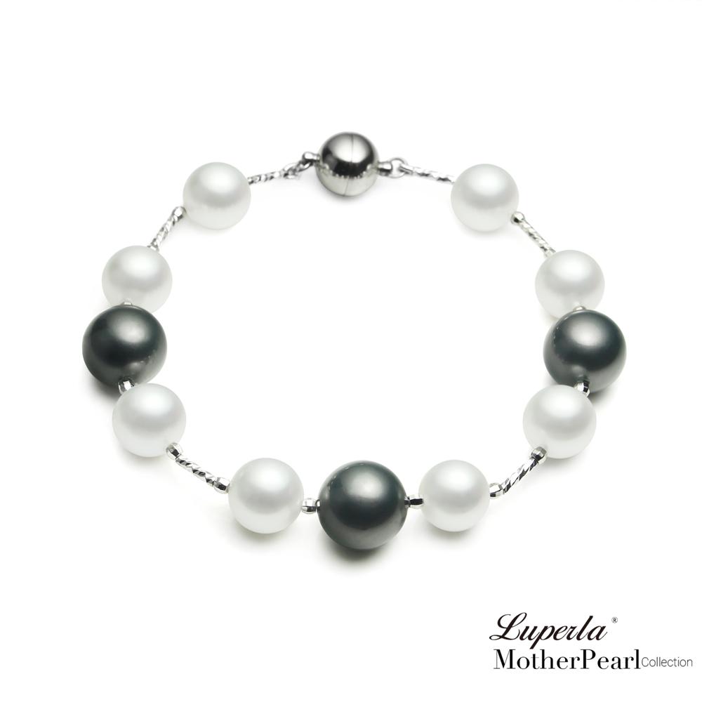 大東山珠寶 南洋貝寶珠手鍊 時尚黑白撞色