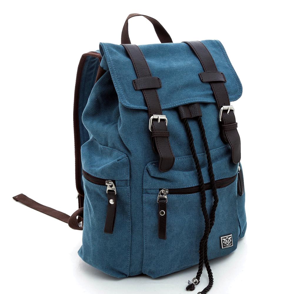 A.J.亞介包 後背包 水洗帆布 皮革雙磁釦設計 藍色