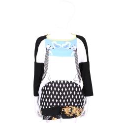 I'm Isola Marras 黑白色狗狗圖案拼接設計七分袖上衣