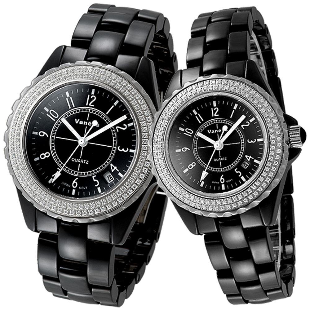 【Vaness】低調奢華晶鑽陶瓷對錶(黑)