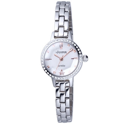 LICORNE 恩萃Entree 玻璃切割面晶鑽時尚設計師女腕錶-銀/白-24mm