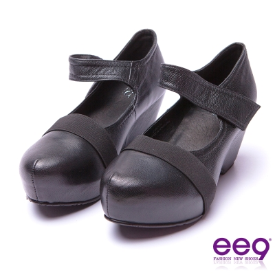ee9 酷勁個性圓中帶尖百搭隱藏內增高楔型跟鞋 黑色