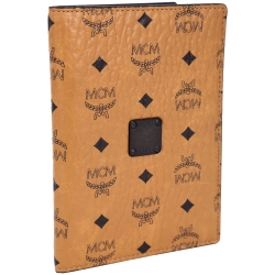 MCM Nomad 經典品牌圖騰牛皮護照夾(棕色)