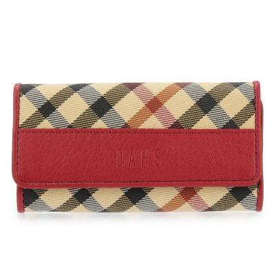 DAKS 經典斜格紋帆布扣式鑰匙鎖包-紅色
