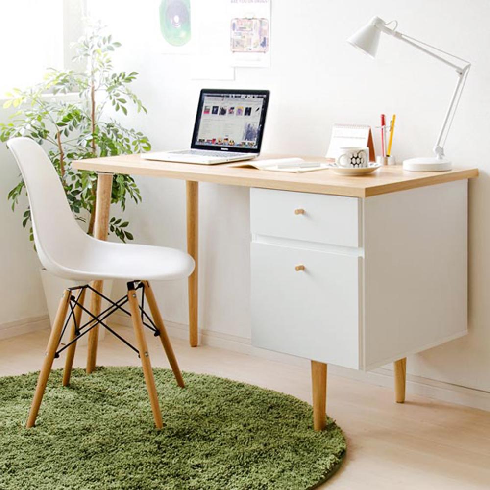 完美主義 雙抽工作桌/電腦桌/書桌(原木色)-120X55X71.5cm